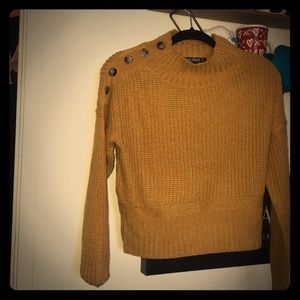 Say What Hipster Mustard Knit Sweater Sz Medium